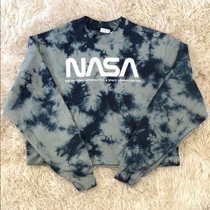 Cropped Tye Dye NASA Sweatshirt